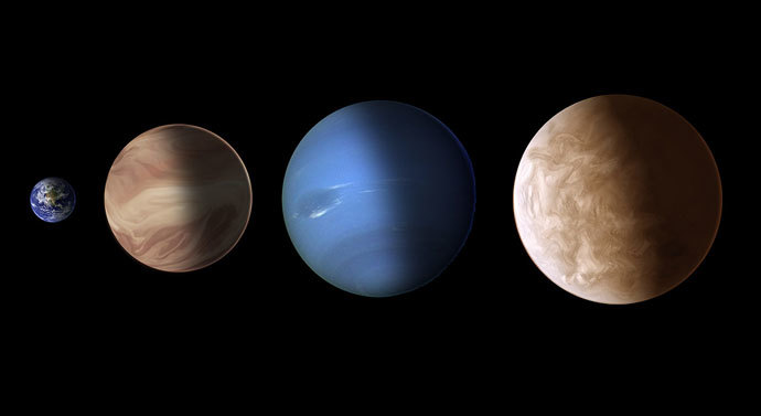 This illustration compares the sizes of exoplanets GJ 436b and GJ 1214b with Earth and Neptune. Image credit: NASA, ESA, and A. Feild and G. Bacon (STScI)