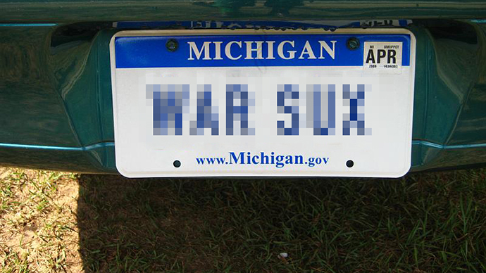 Michigan says 'WAR SUX' license plate is too offensive for state roads