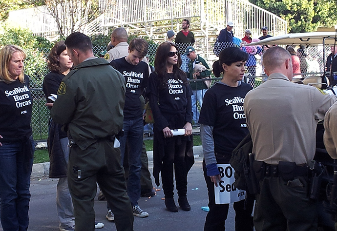 Protesters, including PETA Executive Vice President Tracy Reiman and Senior Vice President Lisa Lange, are arrested while demonstrating against SeaWorld at the Rose Parade. (Image from peta.org)