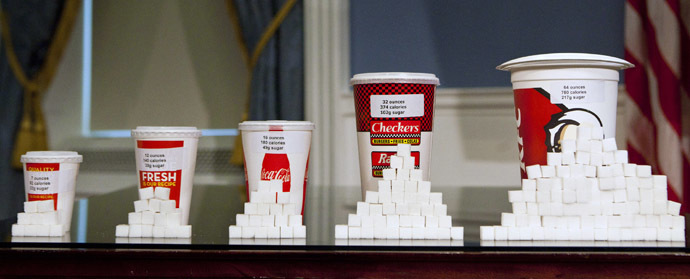 Soft drink cups sized (L-R) at 7 ounces, 12 ounces, 16 ounces, 32 ounces and 64 ounces (Reuters/Andrew Burton)