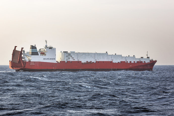 "A handout picture taken on December 29, 2013, and released by Norwegian Armed Forces, shows the cargo vessel ""Taiko"", earmarked to transport chemical agents from war torn Syria. (AFP Photo/Lars Magne Hovtun)"