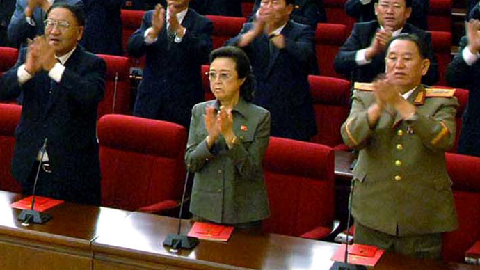 Kim Jong-Il's younger sister Kim Kyong-Hui (C) (AFP Photo/KCNA via KNS)