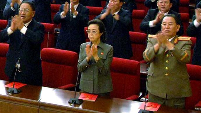 Kim Jong-Il's younger sister Kim Kyong-Hui (C) (AFP Photo/KCNA via KNS)