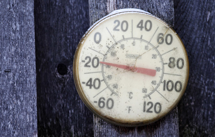 A backyard thermometer shows the temperature during winter in south Minneapolis, January 6, 2014. (Reuters/Eric Miller)
