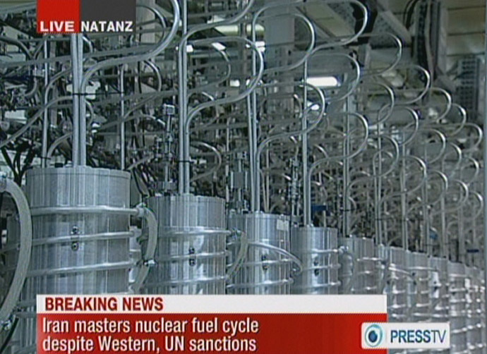 An image grab taken from a broadcast on February 15, 2012 on the state-run Press TV shows centrifuges at Iran's Nantanz nuclear site. Iran has said that is has actived a new generation of centrifuges at Natanz and they are three times more productive. (AFP/PRESS TV)