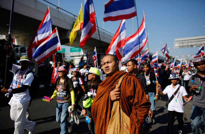 Anti-government protestors march in central Bangkok January 13, 2014. (Reuters / Nir Elias)