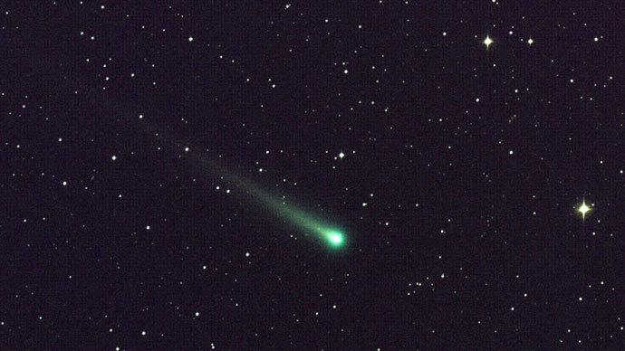 "Comet ISON, in this five-minute exposure taken at NASA's Marshall Space Flight Center and captured using a color CCD camera attached to a 14"" telescope located at Marshall on November 8, 2013 at 5:40 a.m.(AFP Photo / Aaron Kingery)"