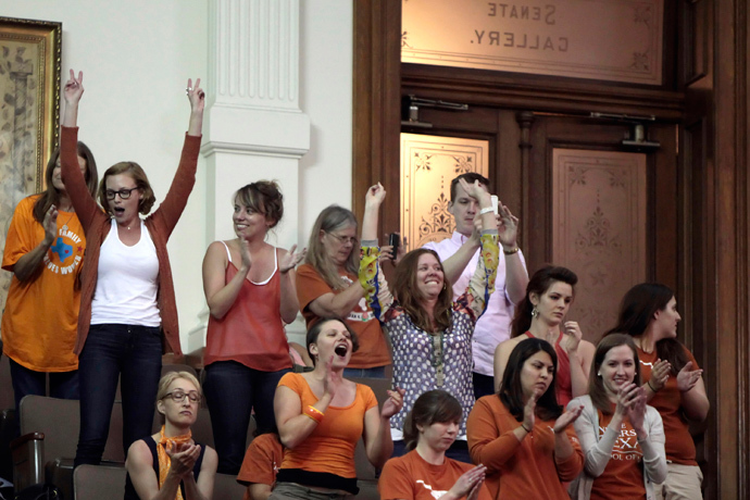 Reproductive rights advocates cheer as the Texas Senate tries to vote on the controversial anti-abortion bill SB5, which was up for a vote on the last day of the legislative special session June 25, 2013 in Austin, Texas. (Erich Schlegel / Getty Images / AFP)