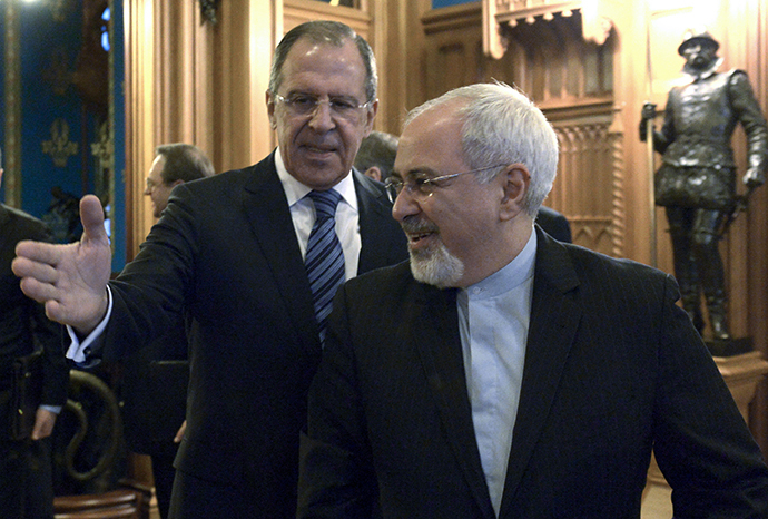 Russian Foreign Minister Sergey Lavrov, left, and Iranian Foreign Minister Mohammad Javad Zarif meeting at the Russian Foreign Ministry Reception House in Moscow on January 16, 2013. (RIA Novosti / Eduard Pesov)