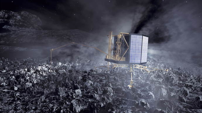 Rosetta's Philae lander on comet nucleus (Image from esa.int)