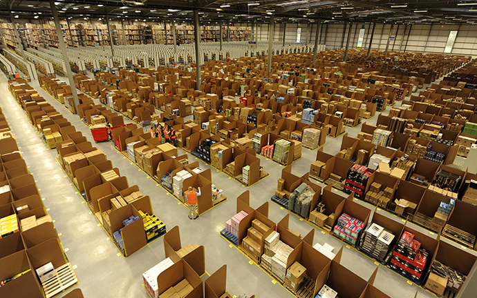 Work is carried out at Amazon's new fulfilment centre (Reuters / Russell Cheyne)