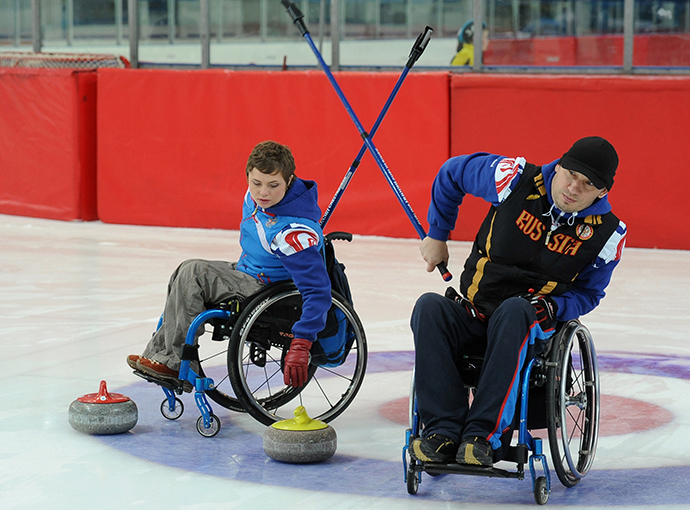 Wheelchair curling. Training of the Russian national team (RIA Novosti / Aleksandr Kondratuk)
