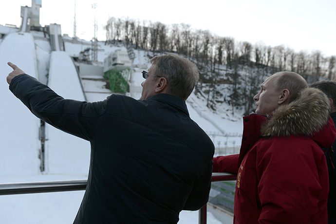January 3, 2014. Russian President Vladimir Putin, right, and Sberbank CEO German Gref visit the Russkiye Gorky trampolining complex. (RIA Novosti / Aleksey Nikolskyi)