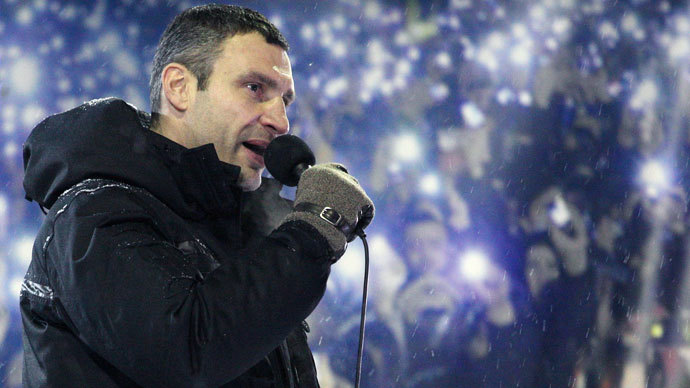 Head of UDAR (Punch) political party and one of the leader of Ukrainian opposition Vitalii Klitschko speaks during a mass rally on Independence Square in Kiev on January 22, 2014.(AFP Photo / Anatoliy Stepanov)