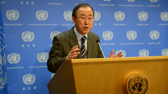 UN Secretary-General Ban Ki-moon makes an announcement at the United Nations headquarters in New York, January 19, 2014. (AFP Photo/Emmanuel Dunand)