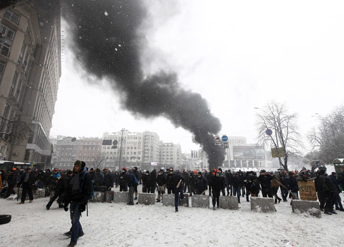Pro-European protesters hold a rally in Kiev January 22, 2014. (Reuters/Vasily Fedosenko)