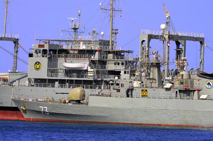 Two Iranian warships Khark (back) and Sabalan (front) (Reuters)