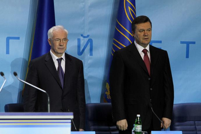 From right: Ukrainian Prime Minister Nikolay Azarov and Ukrainian President Viktor Yanukovich (RIA Novosti/Grigoriy Vasilenko)