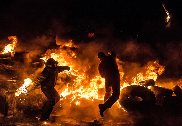 Kiev, 25 de janeiro de 2014.  (AFP Photo / Dmitry Serebryakov)