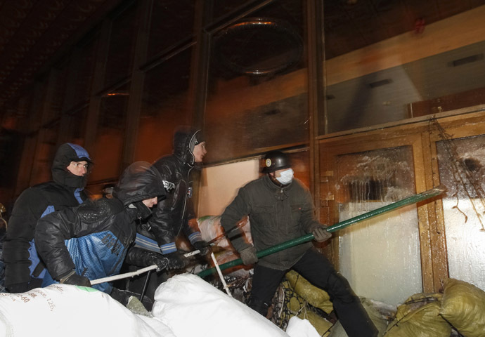 Riots near the House of Ukraine, Kiev, January 26, 2014. (Reuters/Vasily Fedosenko)