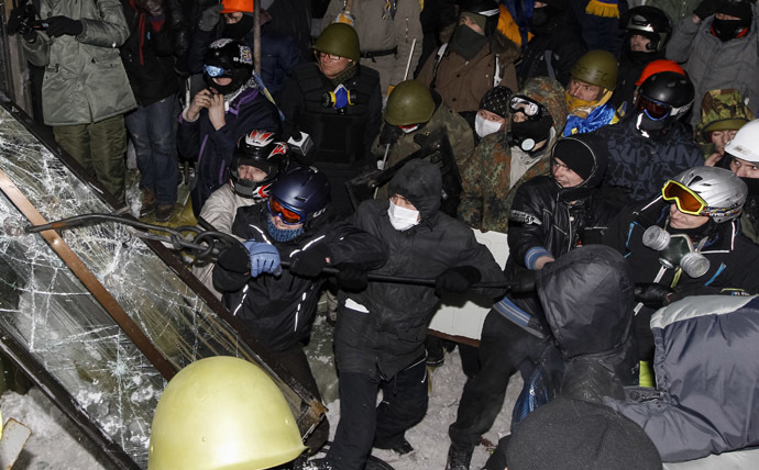 Riots near the House of Ukraine, Kiev, January 26, 2014. (Reuters/Vasily Fedosenko)