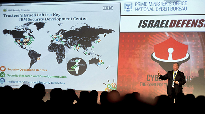 "Steve Mills, senior vice president and group executive of IBM Software and Systems, speaks during the opening of the ""CyberTech 2014"" international conference on January 27, 2014 in the Mediterranean coastal city of Tel-Aviv. (AFP Photo / Jack Guez)"