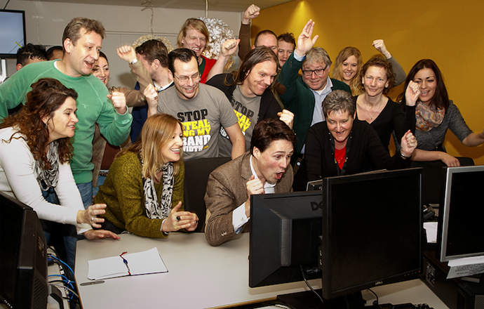 XS4ALL'ers are hearing the verdict. (Image from blog.xs4all.nl / photo by Tycho Müller)