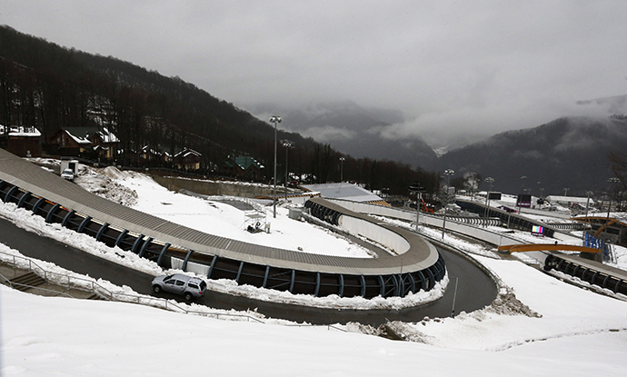 "A general view of a bobsleigh, luge and skeleton track at the Sliding Center ""Sanki"", near the Krasnaya Polyana near Sochi, January 23, 2014. (Reuters / Alexander Demianchuk)"