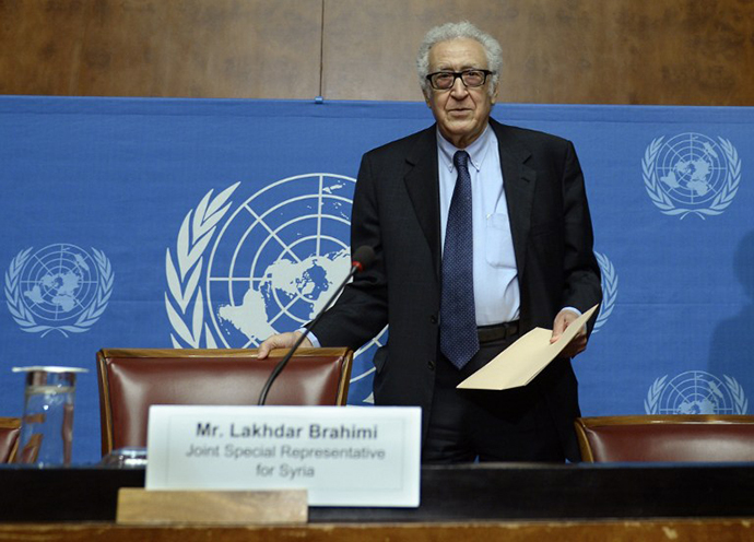 UN-Arab League envoy for Syria Lakhdar Brahimi arrives to give a press conference on the Syrian peace talks at the United Nations headquarters on January 31, 2014 in Geneva. (AFP Photo / Philippe Desmazes)