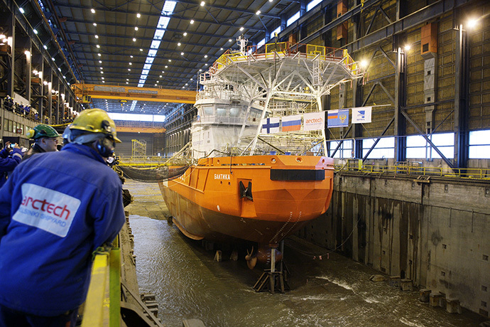 "The launch of the icebreaking multipurpose and emergency vessel NB 508 ""Baltika"" (Image from arctech.fi)"