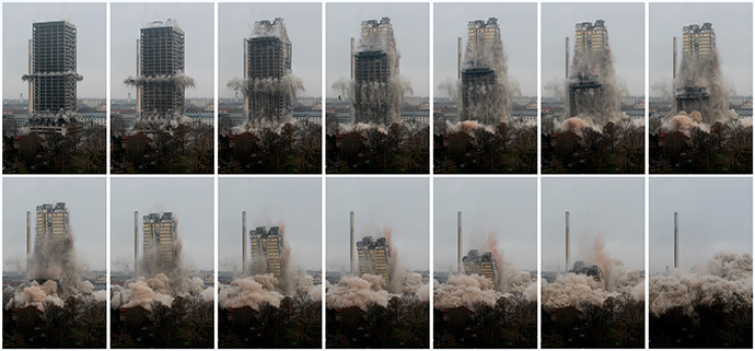 A combination of pictures shows the Goethe University AfE tower as it collapses during controlled implosions in Frankfurt, February 2, 2014. (Reuters / Ralph Orlowski)