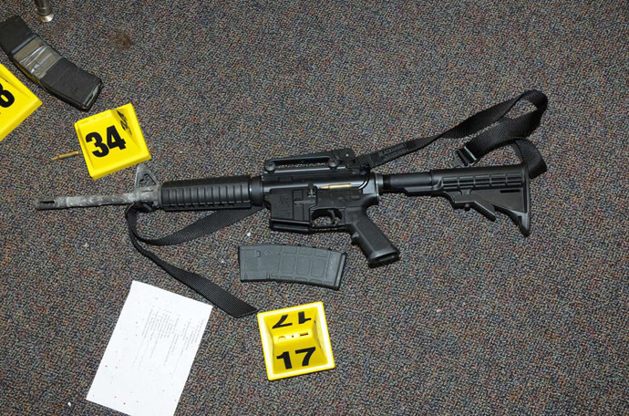 A gun that was found at Sandy Hook Elementary School in Newtown, Connecticut, is pictured in this evidence photo released by the Connecticut State Police, December 27, 2013. (Reuters/Connecticut State Police)
