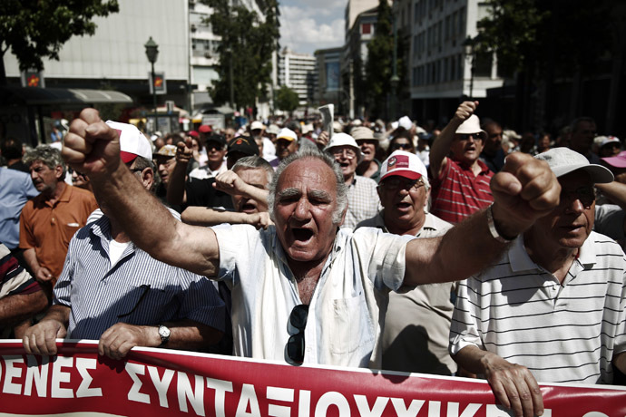 Pensioners shout slogans during an anti-austerity rally in Athens June 6, 2013. (Reuters/Yorgos Karahalis)