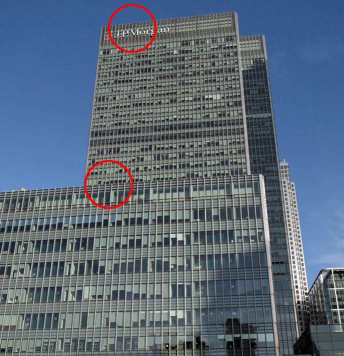 The offices of JP Morgan in the Canary Wharf district of London (Reuters/Simon Newman)