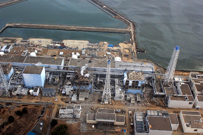This aerial view, taken by an unmanned aerial vehicle (UAV) of the Air Photo Service on March 20, 2011 shows Tokyo Electric Power Co (TEPCO) Fukushima Daiichi nuclear power plant at Okuma town in Fukushima prefecture. (AFP Photo / Air Photo Service)