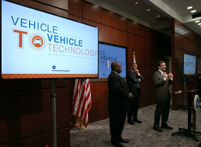 A news conference on automobile safety at the Department of Transportation, on February 3, 2013 in Washington, DC. (AFP Photo / Getty Images / Mark Wilson)