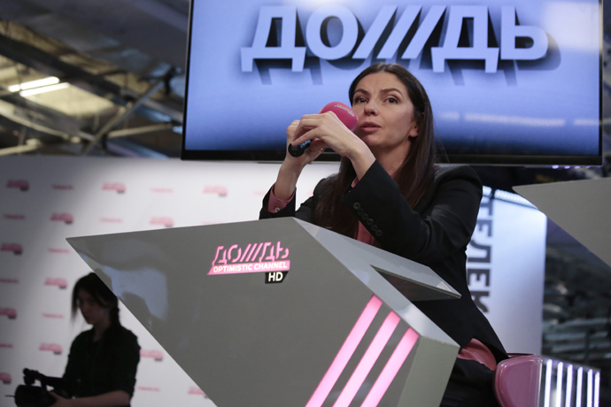 A co-owner and General Director of cable channel Dozhd (TV Rain), Natalya Sindeyeva attends a press conference at the channel office in Moscow , on February 4, 2014 (RIA Novosti / Alexey Nichukin)