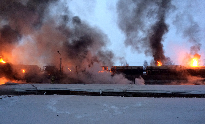 Eleven railcars were set ablaze as a result of the incident (RIA Novosti)