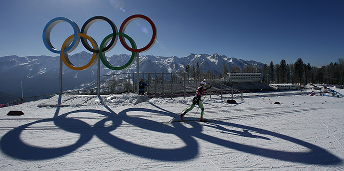 "A skier takes part in a cross-country training session for the Sochi 2014 Winter Olympic Games at the ""Laura"" cross-country and biathlon centre in Rosa Khutor February 5, 2014. (Reuters / Stefan Wermuth)"