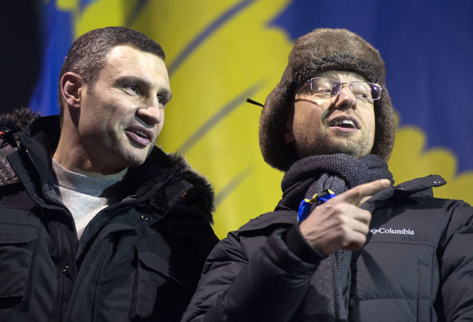 Leader of the opposition UDAR party Vitaly Klitschko, left, and leader of the Fatherland opposition parliamentary faction Arseny Yatsenyuk.(RIA Novosti / Iliya Pitalev)