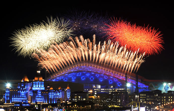 Fireworks explode over the Fisht Olympic Stadium at the begining of the Opening Ceremony of the Sochi Winter Olympics on February 7, 2014 in Sochi.(AFP Photo / Alexander Nemenov)