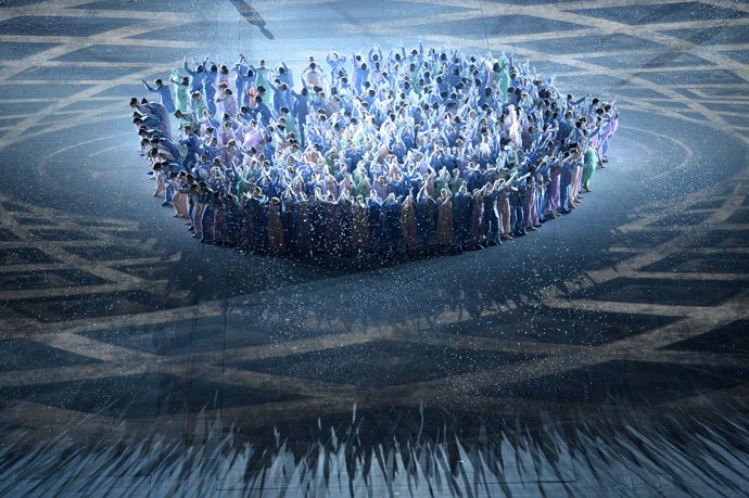 Dancers perform during the Opening Ceremony of the Sochi Winter Olympics at the Fisht Olympic Stadium on February 7, 2014 in Sochi.(AFP Photo / Yuri Kadobnov)
