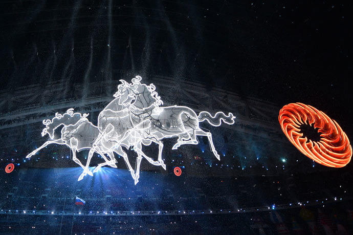 A picture taken on February 7, 2014 shows horse shaped light displays during the Opening Ceremony of the Sochi Winter Olympics at the Fisht Olympic Stadium in Sochi. (AFP Photo / Alberto Pizzoli )