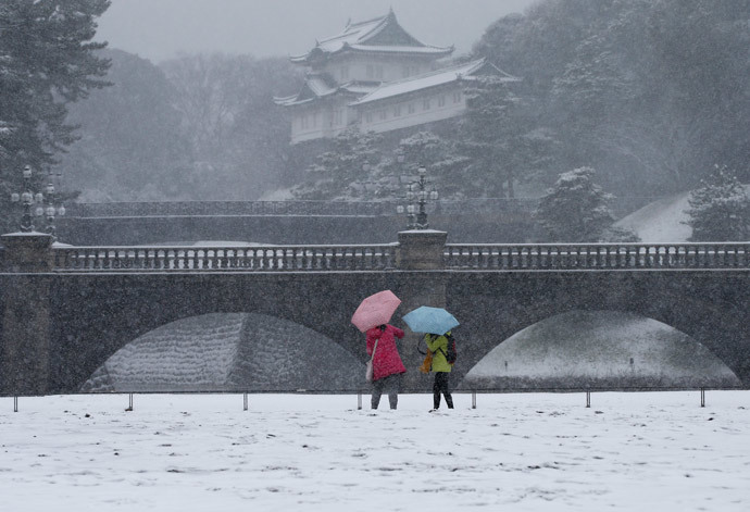 Visitors take photos at the Imperial Palace as snow falls in Tokyo February 8, 2014 (Reuters / Toru Hanai)