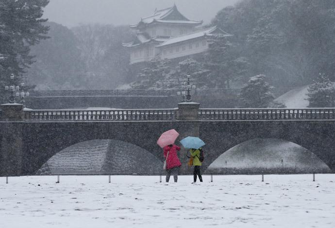 Visitors take photos at the Imperial Palace as snow falls in Tokyo February 8, 2014 (Reuters / Toru Hanai)