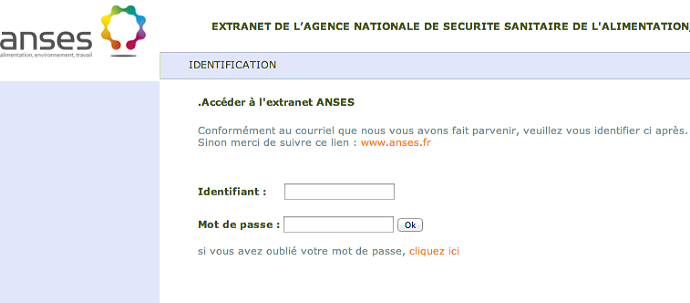 A screenshot from an archived version of anses.fr