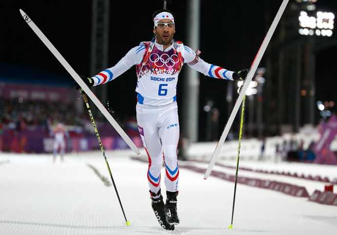 France's Martin Fourcade reacts after finishing in the men's biathlon 12.5 km pursuit event at the Sochi 2014 Winter Olympics in Rosa Khutor February 10, 2014. (Reuters / Stefan Wermuth)