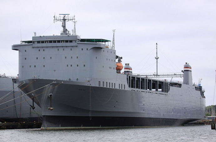 The cargo ship MV Cape Ray, owned by US navy. (AFP Photo / Thoralf Doehring)
