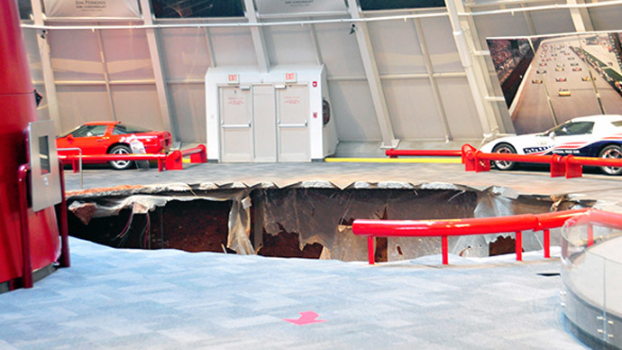 Sinkhole-swallowed Corvettes may take weeks to be retrieved from beneath Kentucky museum