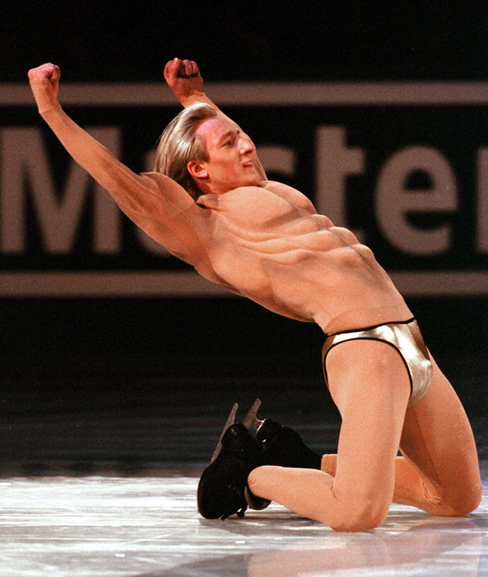 Gold medal winner Evgeni Plushenko of Russia is garbed in muscle-bound, flesh-toned tights during the wrap up exhibition performance of the World Figure Skating Championships 25 March 2001 in Vancouver, Canada. (AFP Photo / Kim Stallknecht)
